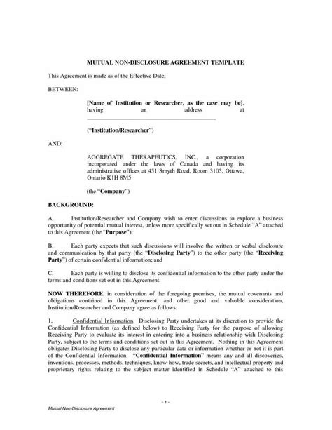 free printable non disclosure agreement report template