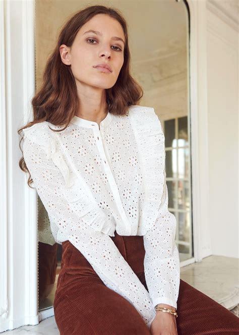 isaure shirt eyelet white sezane ruffle blouse katie