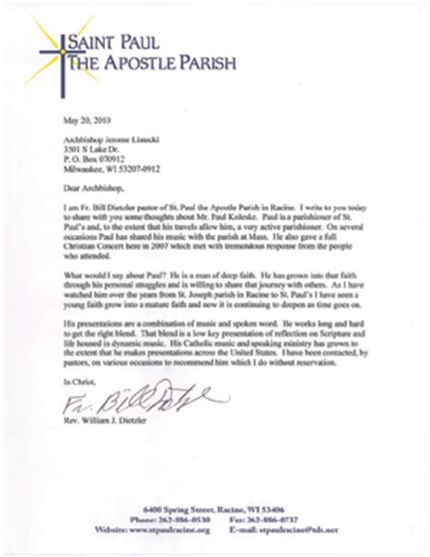Character Reference Letter For Court From Pastor Reference Letters Paul Koleske Catholic Speaking Ministry