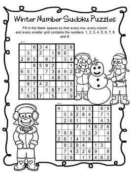 printable winter sudoku freebie winter number sudoku puzzles by the puzzle tree