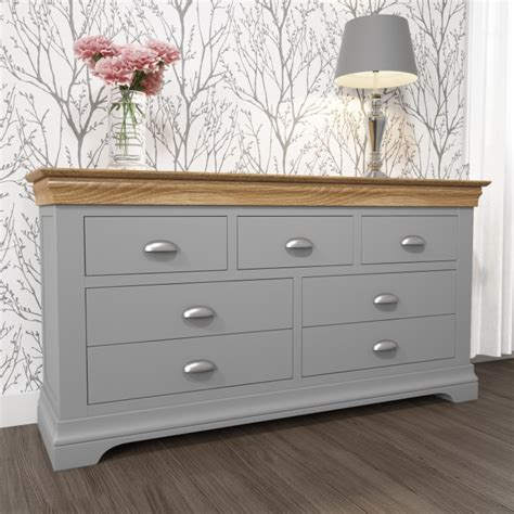 grey chest of drawers next loire two tone wide chest of drawers in grey and oak