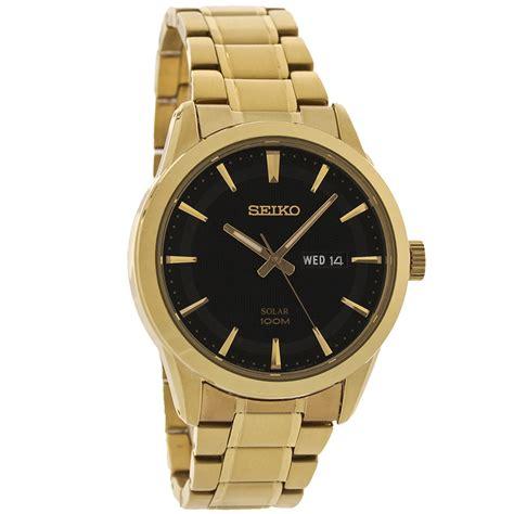 Seiko Date Day Black seiko solar mens black day date gold tone bracelet dress sne368 ebay