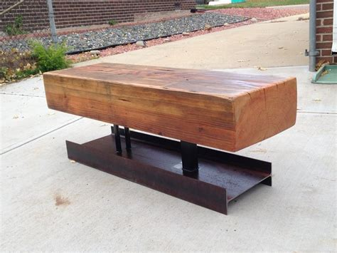 wood beam bench wood bench with i beam base block furniture products pinterest