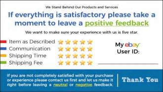 ebay feedback templates 50 blue ebay seller thank you cards 5 feedback rating