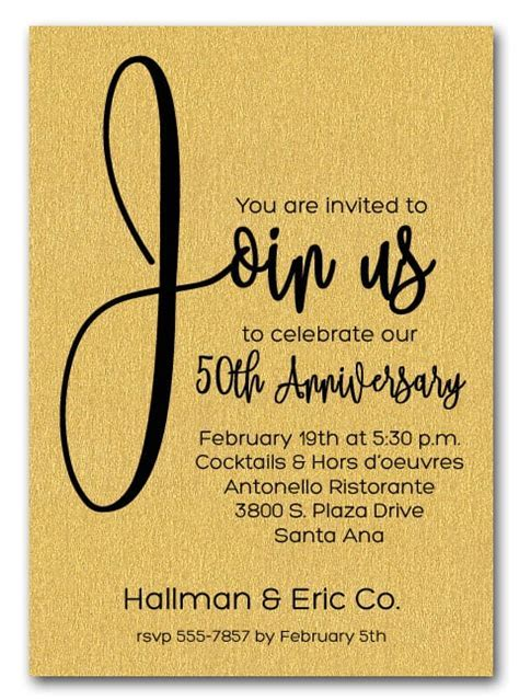 Join Us Shimmery Gold Business Anniversary Party Invitations