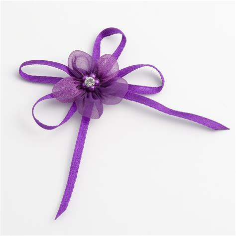 Purple Self Adhesive Diamante & Satin Flower Bows, Favour This