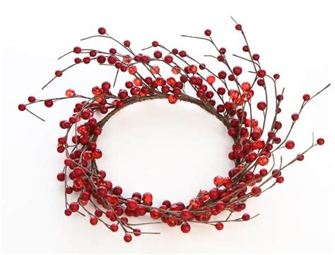 candle ring snow red berries berry candle ring wreath floral sale sales