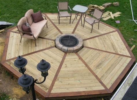 diy pit wood deck how to build an octagonal deck diy projects for everyone