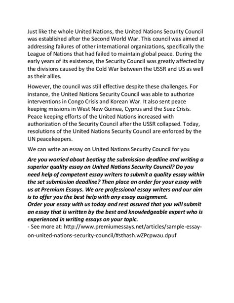 United Nations Essay by Sle Essay On United Nations Security Council