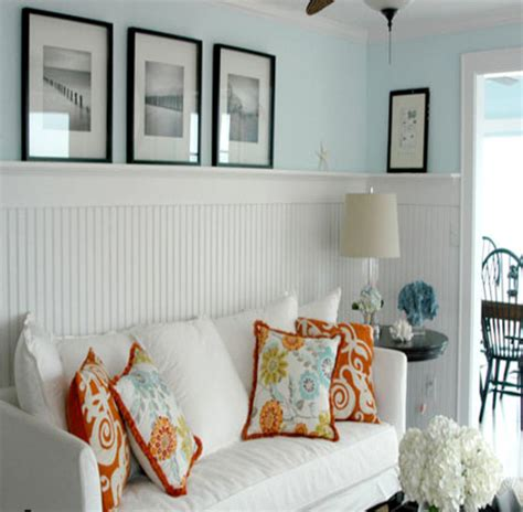 orange white and turquoise living room decor beach