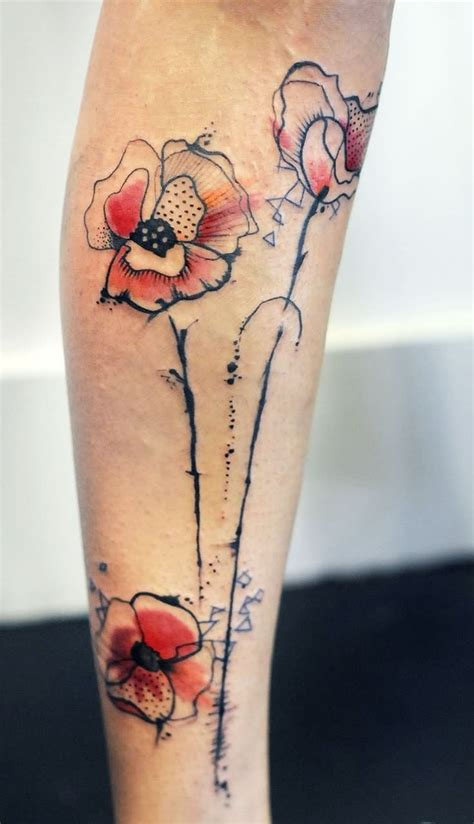 abstract flower tattoos poppy flower design for leg by ellegottzi