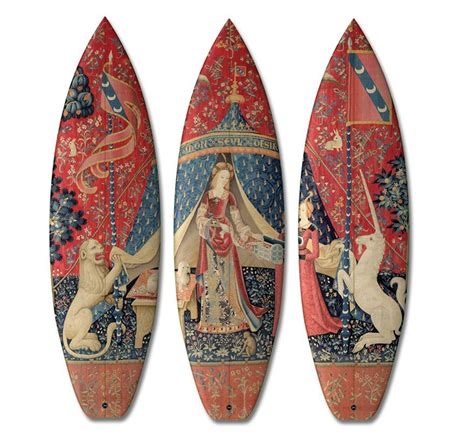 these handmade surfboards dressed in classic paintings