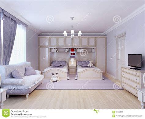chambre à coucher d enfant chambre 224 coucher d enfant pour deux illustration stock