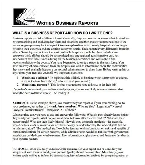 business report template business template