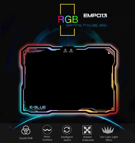 Mouse Pad E Blue e blue emp013 anti skid rgb backlit gaming mouse pad sale