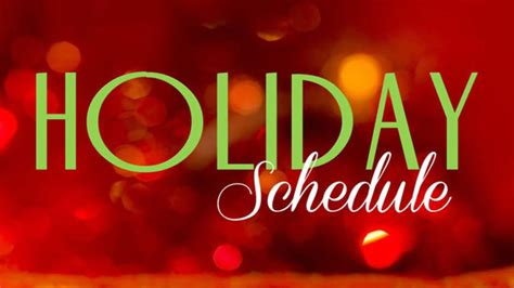 holiday schedules for trash collection municipal offices