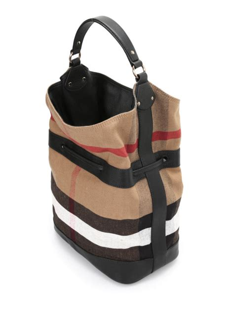 burberry large ashby canvas bag bucket bags