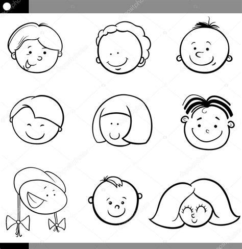 imagenes a blanco y negro para niños conjunto de caras de ni 241 os y ni 241 as de dibujos animados