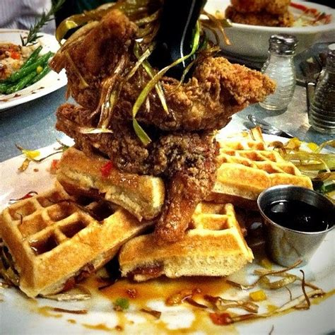 hash house a go go las vegas hash house a go go andy s sage fried chicken bacon waffle tower foodspotting