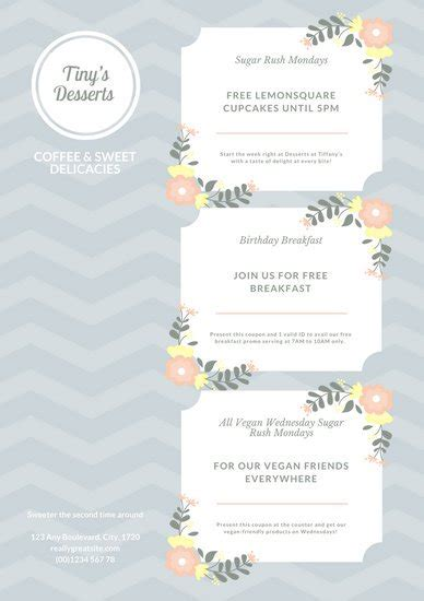canva discount code blue and brown striped food coupon templates by canva