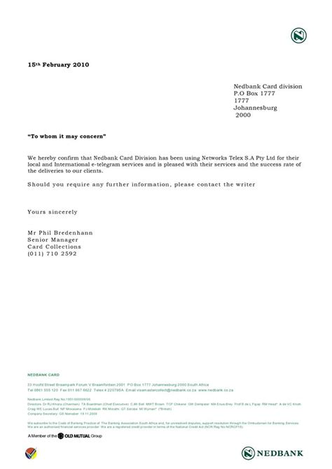 Confirmation Letter Hereby Network Telex Nedbank Pleased With Network Telex Service And Success Rates