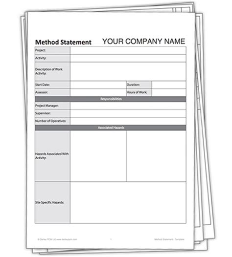 blank method statement template free darley pcm