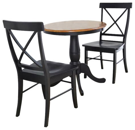 Indoor Bistro Table Set 30 Quot Table With X Back Chairs 3 Set Transitional Indoor Pub And Bistro Sets By