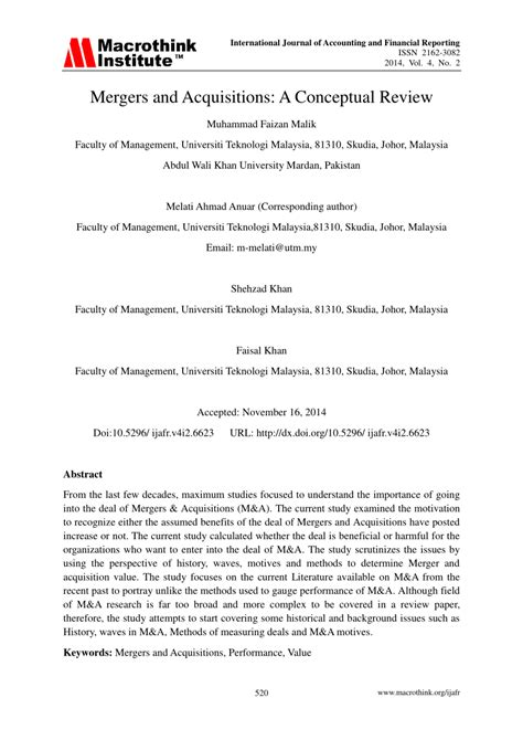 research paper on merger and acquisition pdf mergers and acquisitions a conceptual review pdf