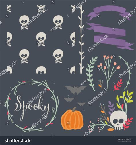 seamless pattern diy halloween diy kit hand drawn vector stock vector 221043739