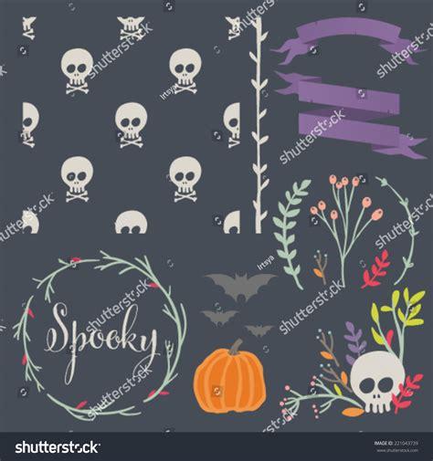 pattern matching over vector halloween diy kit hand drawn vector stock vector 221043739