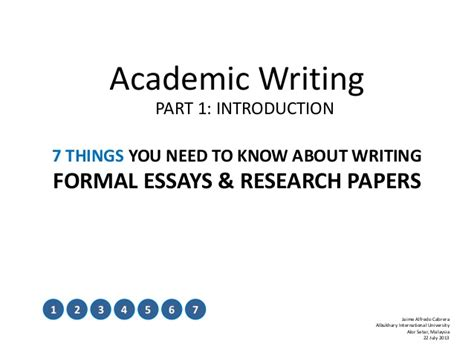 Writing An Academic Essay Introduction by Academic Writing Part 1 Introduction
