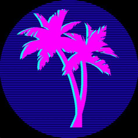 retro  palm trees miami pink  blue hotknife
