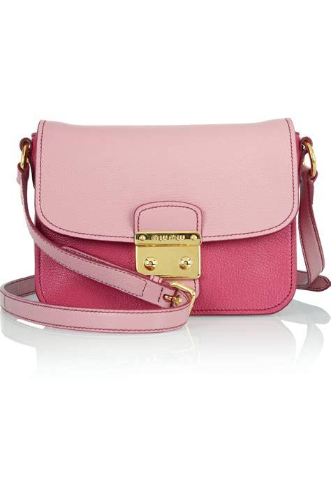 Miu Miu Shoulder Bag by Miu Miu Madras Twotone Texturedleather Shoulder Bag In