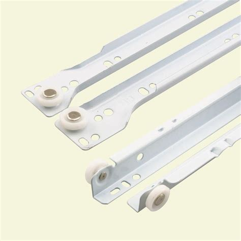 Roller Drawer Slides by Prime Line 17 3 4 In White Bottom Mount Drawer Slides Set R 7211 The Home Depot