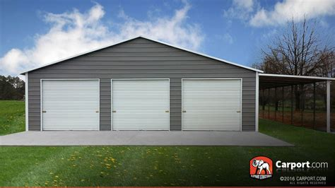 3 door garage this custom three car garage has a lean to on the side and
