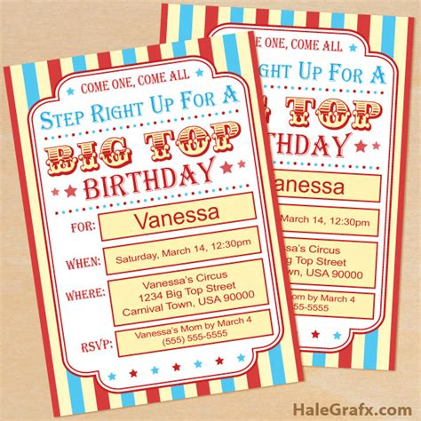 carnival themed invitations templates free free printable circus birthday invitation set