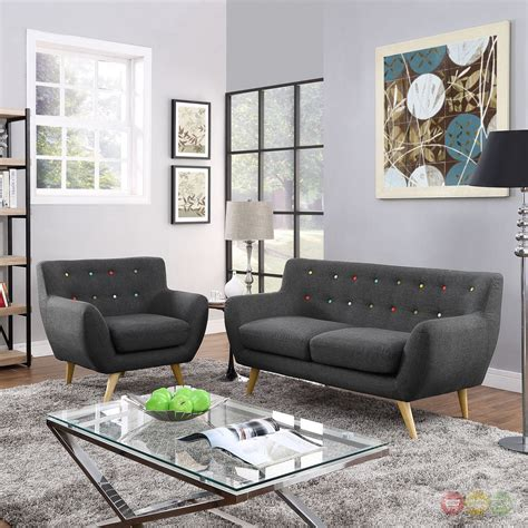 Upholstered Living Room Sets Remark Modern 2pc Button Tufted Upholstered Living Room Set Gray