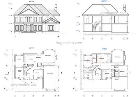 home design dwg download type of houses dwg models free download