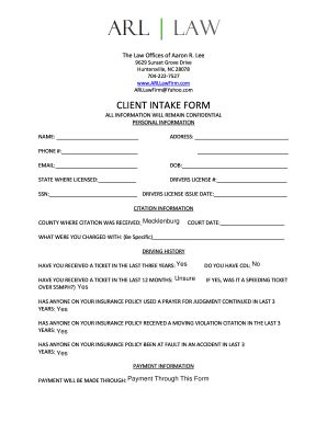 Client Intake Form Templates Fillable Printable Sles For Pdf Word Pdffiller Personal Intake Form Template