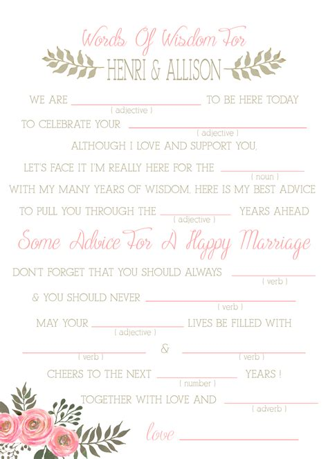 wedding mad libs sweet floral printable template