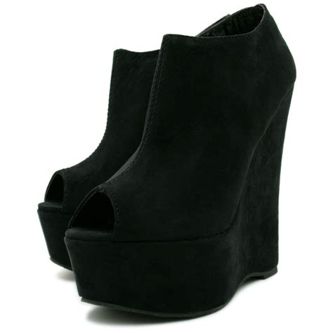 womens black suede style peep toe wedge platform boots