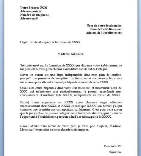 Lettre Résiliation De Formation Modele Lettre Motivation Formation Document