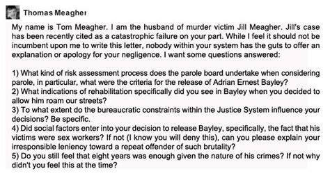 Parole Support Letter Qld Tom Meagher Husband Of Murdered Meagher Demands Apology From S Parole Board