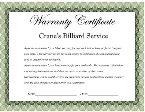 Warranty Certificate Template   Card   Certificate Templates