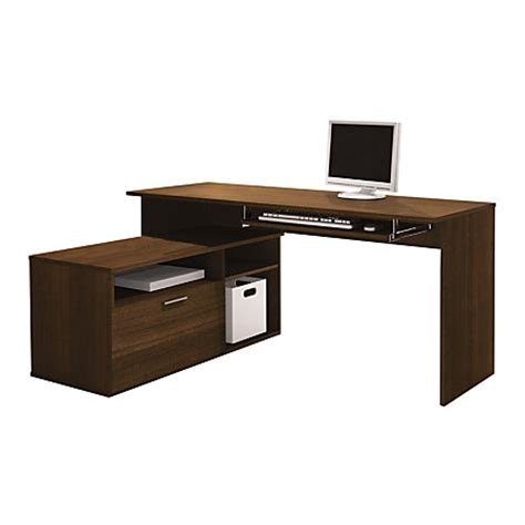 Office Max Desks Bestar Modula Compact L Shaped Desk Tuxedo Brown By Office Depot Officemax