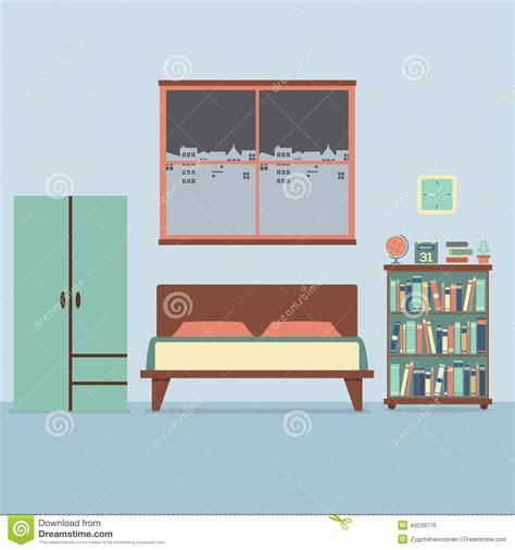 Flat Bedroom Design Flat Design Bedroom Interior Stock Vector Illustration 44239776