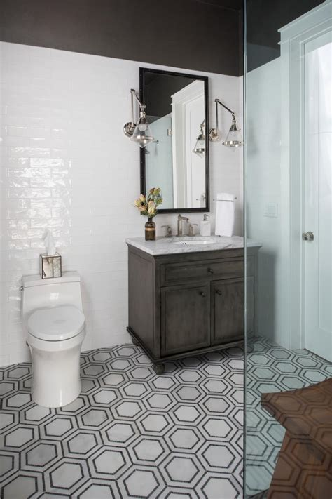 transitional gray  white bathroom  hexagon floor