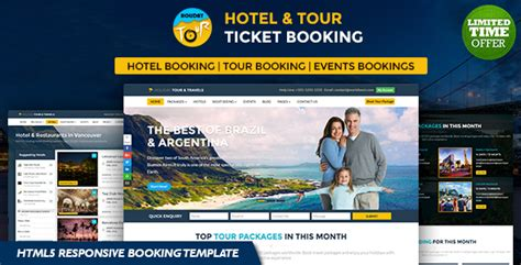 Holiday Hotel Tour And Travels Online Ticket Booking Html5 Responsive Template By Rn53themes Ticket Booking Website Template