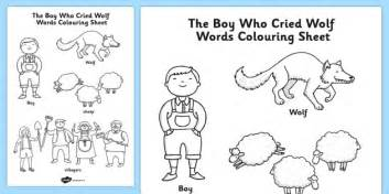 the boy who cried wolf words colouring sheet colour in