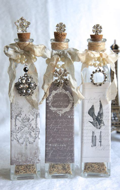 wine bottles decorated with glass pin by sylvia grimberg on geschenkideen